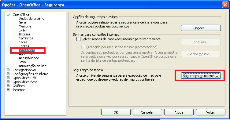 Ativar macros no OpenOffice